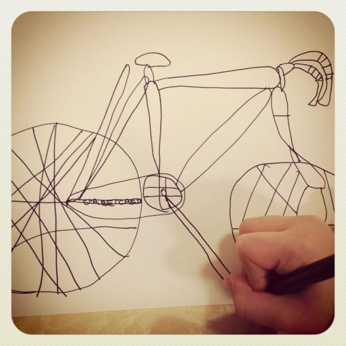 bici disegnata dai bimbi con dettaglio adesivo #streetcred
